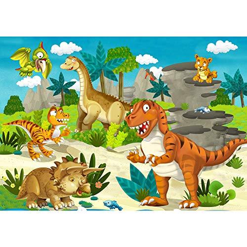 Fototapete Kindertapete - ALLE KINDERMOTIVE auf einen Blick ! Vlies PREMIUM PLUS HiQ - OEKO-TEX Standard 100-300x210 cm - MY FIRST DINOS - Kinderzimmer Dino Dinosaurier Urzeit Trex - no. 119
