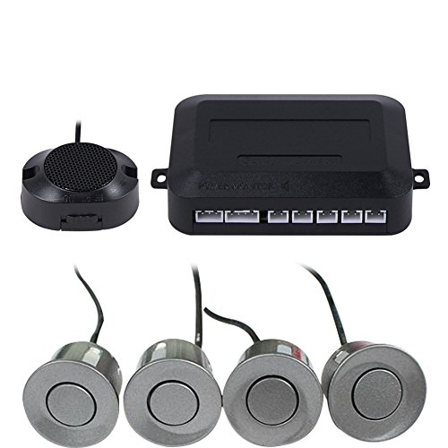 Frostory Car Reverse Backup Parking Sensor Radar System, Buzzer beeps, Detection Distance:30~150CM, Waterproof Sensors (22mm diameter 2.3M Cable) 4 Packs X60D (Grey)