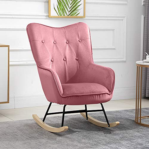 QIHANG-UK Accent Relax Rocking Chair, Upholstered Fireside Rocker Armchair for Living Room Bedroom Office, Lounge High Back Leisure Chair, Oyster Wing Back Nursing Chair, Pink