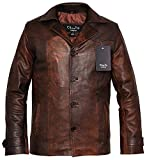 Charlie LONDON Men's Heist Antique Vintage Brown Leather Jacket (X-Large)