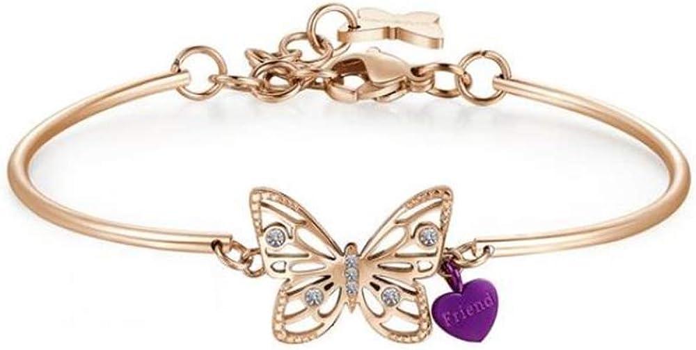 Brosway chakra bracciale per donna in acciaio pvd oro rosa centrale farfalla cristalli swarovski BHK403