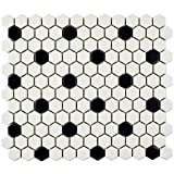 SomerTile FDXMHMWD Retro Hex Porcelain Floor and Wall Tile, 10.25' x 11.75', Matte White with Black Dot