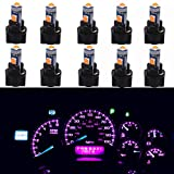 WLJH Super Bright Pink T5 Dash Light Bulbs Car Replacement Instrument Panel Cluster Gauges Warning Indicator Lights 73 74 286 2721 Led Bulb with PC74 Twist Lock Socket,Pack of 10