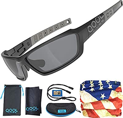 QOOL TIMES Polarized Men's Sports Sunglasses TR90 Light Weight Medium to Large 100% UV Protection for Fishing Volleyball Driving Cycling Full Case Pack with Clean Cloth Pouch
