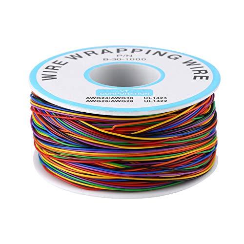 Cable de envoltura de prueba de colores, cable eléctrico N/P de colores B ‑ 30‑1000 250M Cable de prueba de cobre de envoltura de aislamiento de color de 8 hilos