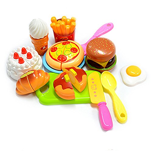 KUNEN Cutting Toy Set Kids Educational Toys 13pcs Plastic Children Kids Cutting Birthday Party Kitchen Food Pretend Play