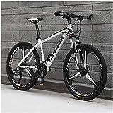 LKAIBIN Bicicleta de montaña para deportes al aire libre para hombre, bicicleta de montaña de 21 velocidades con marco de 17 pulgadas, ruedas de 26 pulgadas con frenos de disco, color blanco