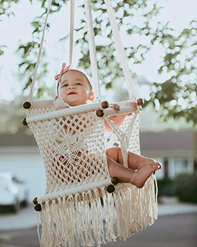 New 2021!! Macrame Swing Chairs-Handmade Swing-Baby Swing Chair-Toddler Swing-Indoor Swing-Hammock Chair-Baby Hammock-Outdoor Swings (Natural)