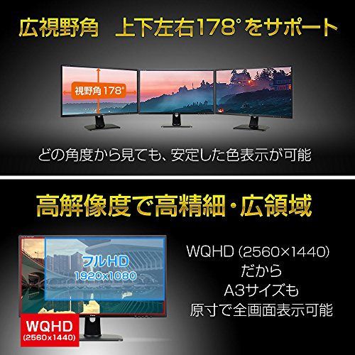 『iiyama WQHD モニター ディスプレイ XB3270QS-B1 (31.5インチ/WQHD(2560x1440)/IPS/DisplayPort,HDMI,DVI-D/昇降/3年保証)』の5枚目の画像