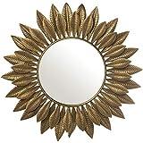 DRW Espejo de Pared Redondo con Hojas de Metal Dorado