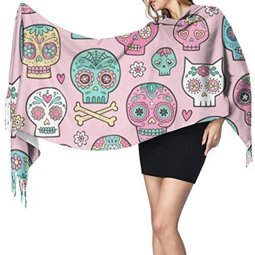 Sugar Skulls on Pink Moda para mujer Chal largo Dibujos animados Camión de basura Chal suave Abrigo Bufanda Bufanda grande de invierno