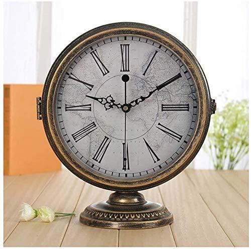 Relojes de Moda Párese del Escritorio del Reloj Mudo Moderno Minimalista de Doble Cara del Reloj Sala Creativo Europeo Reloj de Mesa péndulo de Reloj de Escritorio al Aire Libre casero (Color : D)