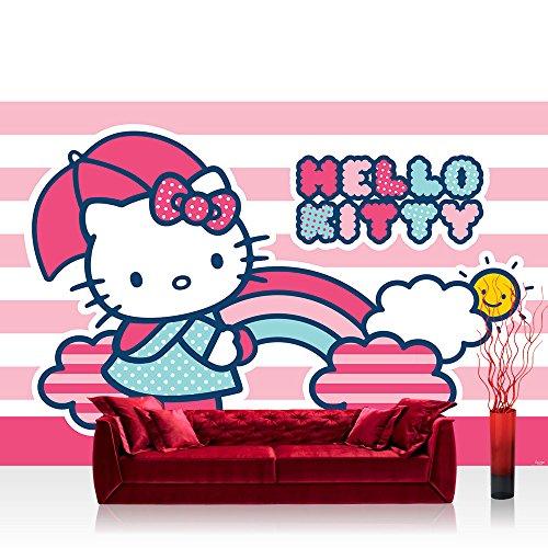 Fototapete 368x254 cm PREMIUM Wand Foto Tapete Wand Bild Papiertapete - Mädchen Tapete Hello Kitty Katze Illustration Cartoon Kindertapeten pink - no. 1810