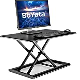 Boyata 昇降デスク 多機能 スタンディングデスク リフティングテーブル オフィスワークテーブル 高さ調整 座位・立位両用 折りたたみ ブラック