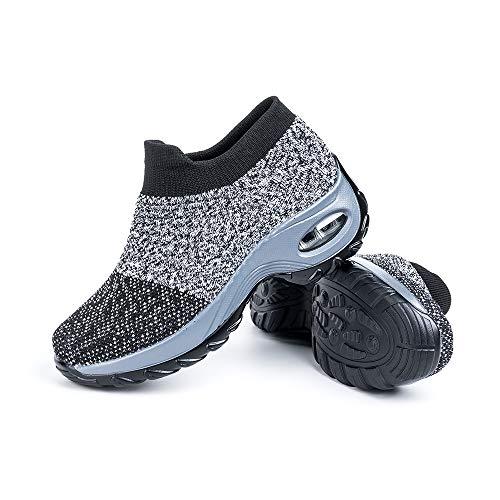 Zapatillas Deportivas de Mujer Zapatos Running Fitness Gym Outdoor Sneaker Casual Mesh Transpirable Comodas Calzado Gris Talla 40