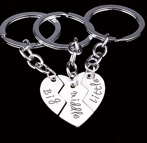 Zenguen Family Keychain, 3pcs grande medio piccolo split anello portachiavi a forma di cuore