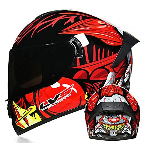 Casco de motocicleta de cara completa unisex para adultos para hombres y mujeres Casco de motocross de doble visor aprobado ECE Casco de motocicleta Bike Crash Helmet,8,XL 61~62cm