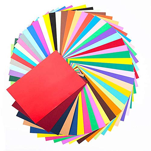 Buntes DIN-A4 TonPapier, 200g/m², Buntpapier, Farbigen Farbigen A4 Kopierpapier Papier,Ton-Zeichen-Papiere bunt, für DIY Kunst Handwerk (Mehr als 30 Farben-50Stück)