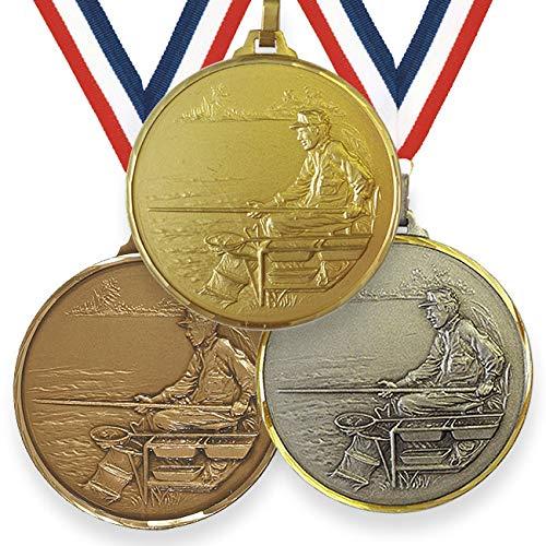 Trophy Monster Medalla de pesca de alta definición de 52 mm con cinta de latón   oro, plata o bronce