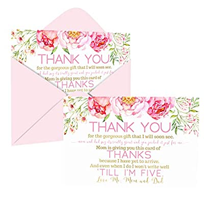 Cottage Floral Baby Shower Thank You Cards with Envelopes (15 Pack) Rustic Flowers Supplies Pink and Gold – Cute Thanks from Baby Girls - A6 Flat Stationery Set Printed (4 X 6 inches) by