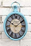 Blue 12 Inch Wall Clock European Old Design Oval-Shaped Old-Fashioned Wall Clock Old Craftsmanship Wall Clock Suitable for Public Areas in Living Room Kitchen Office Space Wall Clock
