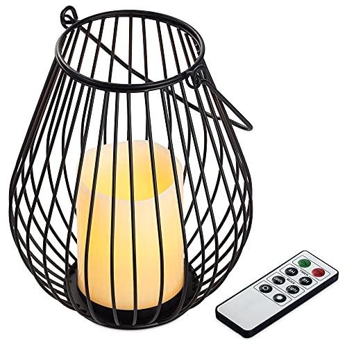 Navaris Lanterna Elettrica con Telecomando - Candela LED Dimmerabile Portacandela in Ferro Battuto Nero Ø16,5x20cm - Lanternino a Batterie Medio M