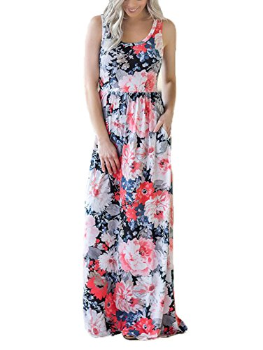 SWQZVT Women's Summer Bohemian Floral Dresses Sleeveless Pockets Racerback Scoop Neck Casual Long Maxi Tank Dress Orange Pink XL