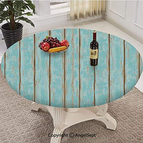 Elastic Edged Round Table Cloth,Old Fashioned Weathered Rustic Planks Summer Cottage Beach Coastal Theme,Fits 30'-36' Diameter Tables,Table Cover Polyester Tablecloth
