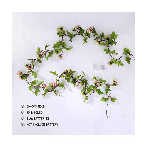 Cadena de Luces – Guirnalda Luces 2M 20 LEDs Flores de Rosas Artificiales Bombillas Decoración Interior, Jardines, Casas…