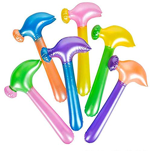 Kicko 14 Inch Multi-Colored Inflatable Hammer - Pack of 12 Assorted Neon Mallet - Perfect Tool for Backdrops, Decor, School Activities, Festivals, Party Favor and Supplies