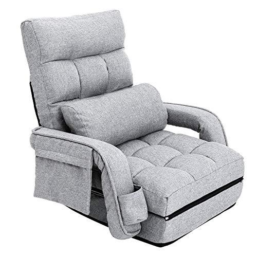 座椅子 ソファベッド ひじ掛け付き 肘掛け連動 折り畳み ハイバック 42段階リクライニング ふあふあフロアチェア 静電気防止生地 (グレー)