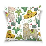 Osmykqe Throw Pillow Cover Mexican Lama Cactus Decorative Pillow Cases Cushion Cover for Couch Sofa Bed Home