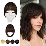 Clip in Bangs, BARSDAR 100% Human Hair Bangs Extensions French Bangs Neat Bangs with Temples Clip on Fringe Bangs Real Hair for Women Natural Color Washable/Dyeable(French-Dark Brown)