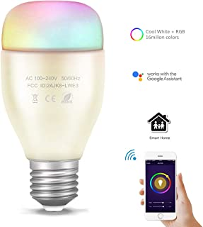 Smart WiFi Bulb with Alexa Voice Control, ONEVER 6W E26 Wireless Led Color ChangingLight Bulb RGBW Dimmable, Compatible for iOS Android App Controlled Device, 60W Equivalent