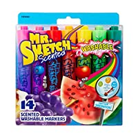 [ミスタースケッチ]Mr. Sketch Washable Scented Watercolor Markers, ChiselTip, Set of 14, Assorted Colors 1924061 [並行輸入品]