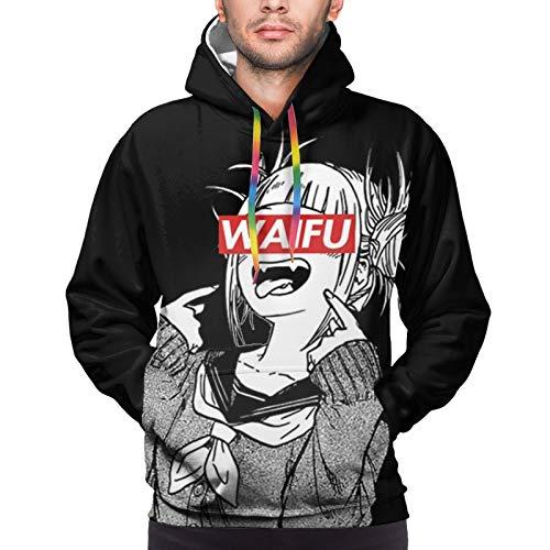 FJE&EDMA Ahegao Face Waifu Hentai Toga Man's Hoodie Casual Sweatshirt with Big Pocket Pullover Black