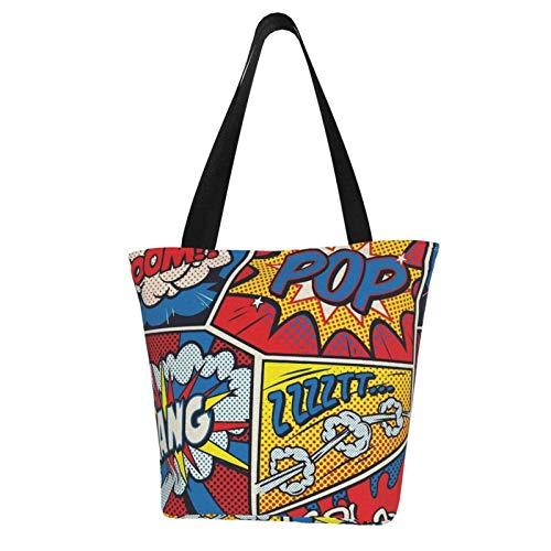 Pop Art Comic Frauen Fashion Casual Canvas Tote Bag Shopping Handtasche Einkaufstasche
