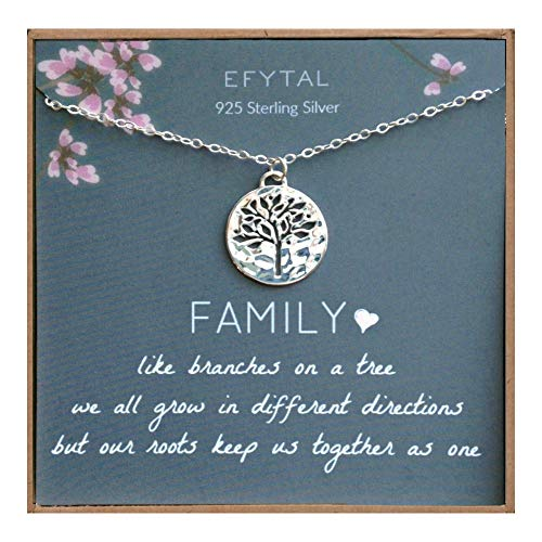 EFYTAL Grandma Gifts, 925 Sterling Silver Family Tree of Life Necklace, Mother