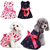 KOESON 2 Pack Dog Dresses Pet Princess Skirts with Ribbon Bowknot, Cute Puppy Sundress Spring Summer Shirts Vest for Small Dogs Cats, Pet Apparel Clothes Doggie Costume for Wedding Holiday Birthday