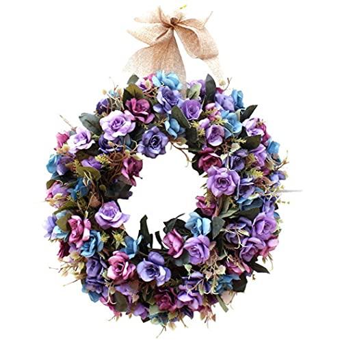 RRunzfon La Flor Artificial de la Guirnalda de Rose de la sede de la Puerta de la Guirnalda Colgante Artificial Floral Garland decoración con la Cinta Style1, Corona