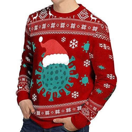 TILLMANN'S Ugly Christmas Sweater für Herren und Damen – Unisex – lustiger Weihnachtspullover mit Virus Motiv (L)