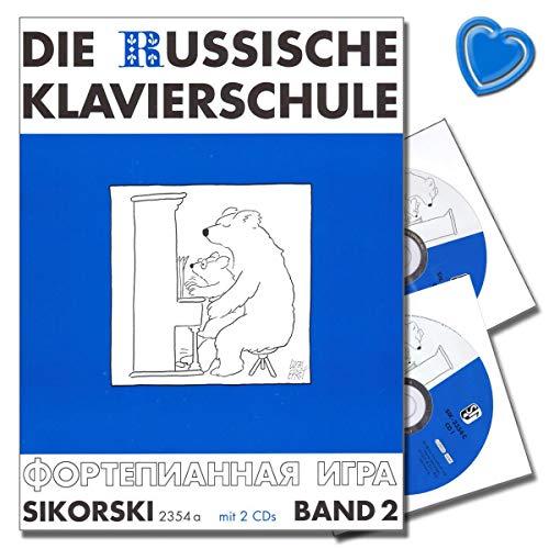 Die russische Klavierschule Band 2 - mit 2 CDs und mit bunter herzförmiger Notenklammer - SIK2354A - 9783935196918