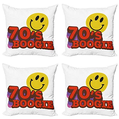 ABAKUHAUS Retro Set de 4 Fundas para Cojín, 70 Boogie Emoticon Divertido, Estampado Digital en Ambos Lados y Cremallera, 50 cm x 50 cm, Púrpura Rojo Amarillo