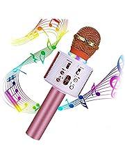 Micrófono Karaoke Bluetooth, Portátil Inalámbrica Micrófono y Altavoz del Karaoke con LED para Niños Canta Partido Musica, el Hogar KTV, Compatible con Teléfono, PC, Tabletas (Oro Rosa)