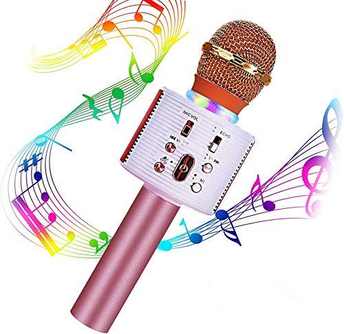Micrófono Karaoke Bluetooth, Portátil Inalámbrica Micrófono y Altavoz del Karaoke con LED para Niños Canta Partido Musica, el Hogar KTV, Compatible con Android/iOS PC, Tabletas (Oro Rosa)