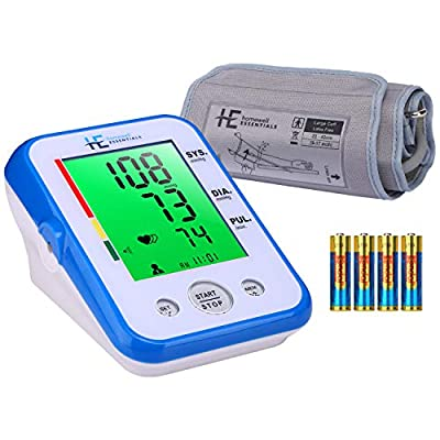 Home Blood Pressure Monitor Upper Arm Large 9''-17''Cuff,3-Color in 7.5-inch Digital LCD Display,2 Users and 120 Records Memory, 4*AA Batteries Included