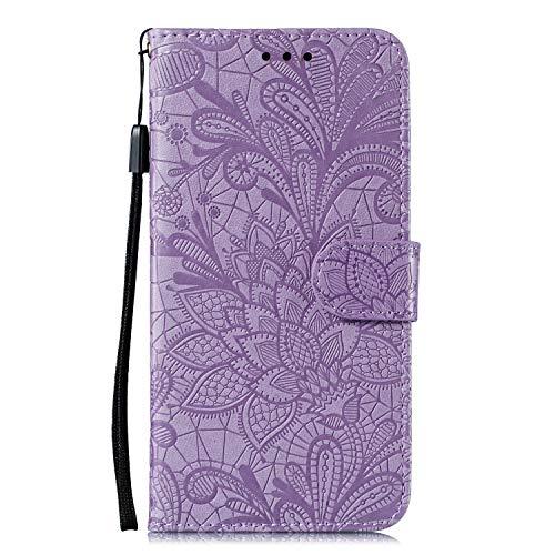 Hülle für Samsung Galaxy M51 Lederhülle Flip Tasche Klappbar Handyhülle mit [Kartenfächer] [Ständer Funktion], Cover Schutzhülle für Galaxy M51 - JEEB020348 Violett