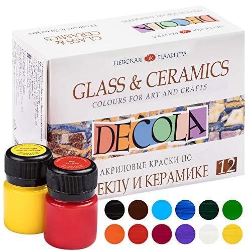 Decola - Porzellan Farben Set | 12x20ml Permanente Farbe für Glas und Keramik | Hohe Deckkraft auf dunklen Oberflächen | Hergestellt von Neva Palette