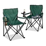 Relaxdays Pack de 2 Sillas Camping Plegable Acolchada con Reposabrazos y Soporte para Bebidas, Verde, 50x78x82 cm
