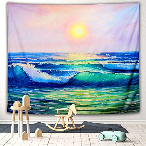 Gelite 59 X 79 Inches Ocean Tapestry Wave Tapestry Sunset Tapestry Nature Tapestry Wall Hanging for Bedroom